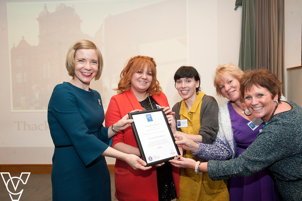 Chief curator of the Historic Royal Palaces, Dr Lucy Worsley presents an award to representatives from Thackray Medical Museum<br /> <br /> Sandford Awards 2014 ceremony held at the National Maritime Museum, Greenwich.<br /> Date: December 5, 2014<br /> <br /> Picture: Chris Vaughan/Chris Vaughan Photography