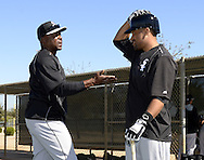 GLENDALE, AZ - FEBRUARY 25:  Base running coach Vince Coleman talks to Micah Johnson #7 of Chicago White Sox during spring training workouts on February 25, 2015 at The Ballpark at Camelback Ranch in Glendale, Arizona. (Photo by Ron Vesely)   Subject:   Vince Coleman; Micah Johnson