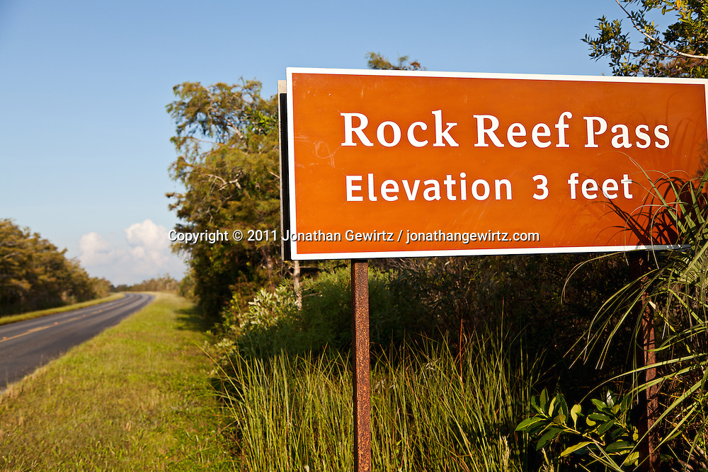 Rock Reef Pass, shown here where it crosses the main road in Everglades National Park, rises just three feet above the surrounding sawgrass savannah. The tiny height differential above the surrounding grassland supports trees and other vegetation that could not survive a few feet away. WATERMARKS WILL NOT APPEAR ON PRINTS OR LICENSED IMAGES.