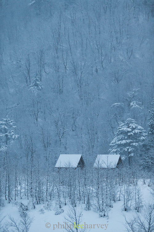 Scenic winter landscape with covered in snow cabins, Shirakawa-go, Japan