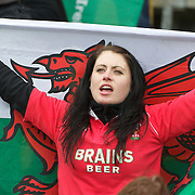 A Welsh fan during the Ireland V Wales Quarter Final match at the IRB Rugby World Cup tournament. Wellington Regional Stadium, Wellington, New Zealand, 8th October 2011. Photo Tim Clayton...