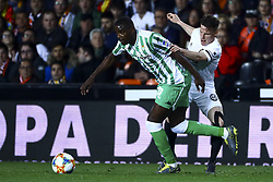 February 28, 2019 - Valencia, Spain - William Silva de Carvalho of Real Betis Balompi (L) and Kevin Gameiro of Valencia CF  During Spanish King La Copa match between  Valencia cf vs Real Betis Balompie Second leg  at Mestalla Stadium on February 28, 2019. (Photo by Jose Miguel Fernandez/NurPhoto) (Credit Image: © Jose Miguel Fernandez/NurPhoto via ZUMA Press)