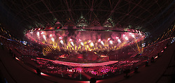 JAKARTA, Aug. 18, 2018  Fireworks explode over the Gelora Bung Karno (GBK) Main Stadium at the opening ceremony of the 18th Asian Games in Jakarta, Indonesia, Aug. 18, 2018. (Credit Image: © Zhu Wei/Xinhua via ZUMA Wire)