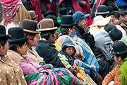 Bolivia June 2013. La Paz. Cholitas wearing their traditional bowler hats at a cultural event.