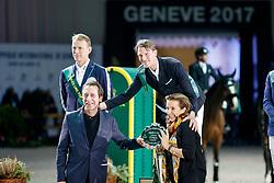 STAUT Kevin (FRA), FRERICSON Peder (SWE), BRASH Scott (GBR) <br /> Genf - CHI Rolex Grand Slam 2017<br /> Preis der Communes Genevoises <br /> © www.sportfotos-lafrentz.de