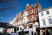 Lloyds bank building, Cornhill, Ipswich, Suffolk on market day