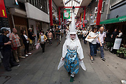 Young women dressed as herons take part in the Daigyoretsu or Grand on  first day of the three-day Sanja Matsuri, Asakusa, Tokyo, Japan. Friday May 18th 2018. The Sanja matsuri, or festival, takes place over the third weekend of May in the streets around the famous Senso-ji Temple. It lis one of the biggest festivals in Japan and lasts for three days  (May 18th to May 20th) with parades of large mikoshi, or portable shrines, carried around the streets by crowds of supporters