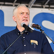 Speaker Jeremy Corbyn is a Labour leader at Whitehall rally NHS at 70: Free, for all, forever on June 30th, 2018.