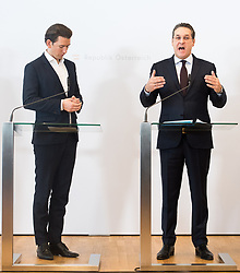 11.01.2019, Hotel Schlosspark, Mauerbach, AUT, Bundesregierung, Pressefoyer nach der Regierungsklausur 2019, im Bild Bundeskanzler Sebastian Kurz (ÖVP) und Vizekanzler Heinz-Christian Strache (FPÖ) // Austrian Federal Chancellor Sebastian Kurz and Austrian Vice Chancellor Heinz-Christian Strache during media briefing after convention of the Austrian government at Mauerbach in Lower Austria, Austria on 2019/01/11 EXPA Pictures © 2019, PhotoCredit: EXPA/ Michael Gruber