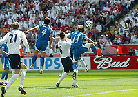 Photo: Chris Ratcliffe.<br /> England v Paraguay. Group B, FIFA World Cup 2006. 10/06/2006.<br /> Carlos Peredes of Paraguay scores the own goal.
