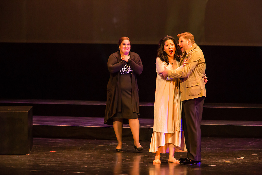 Karen Chila-Ling Ho as Violetta, Alex Richardson as Alfredo, and Liz Lang as Annina in Verdi'a La Traviata in the Philharmonia Orchestra's production at the Rose Theater at Jazz at Lincoln Center.