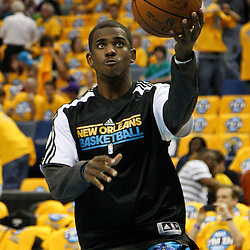 April 22, 2011; New Orleans, LA, USA; New Orleans Hornets point guard Chris Paul (3) before game three of the first round of the 2011 NBA playoffs against the Los Angeles Lakers at the New Orleans Arena.    Mandatory Credit: Derick E. Hingle
