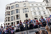 "London, 10th September 2012. The day after the end of the London 2012 Paralympics, thousands of spectators lined the capital's streets to honour 800 of TeamGB's athletes and Paralympians. Britain's golden generation of athletes in turn said thank you to its Olympic followers, paying tribute to London and a wider Britain as up to a million people lined the streets to celebrate the ""greatest ever"" sporting summer and billed to be the biggest sporting celebration ever seen in the UK."