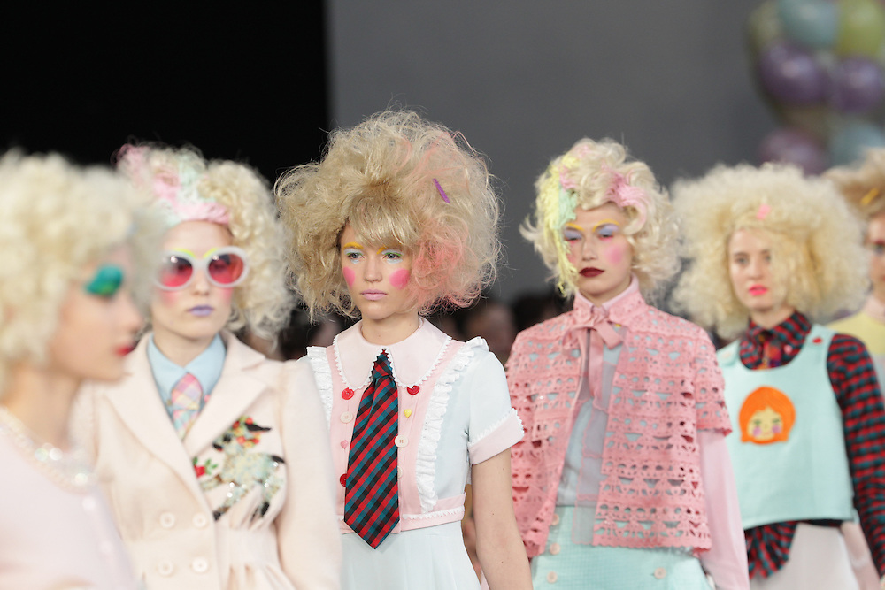 Models walk the runway for the SS 2012 Meadham Kirtchoff fashion show held during London Fashion Week in London, UK.