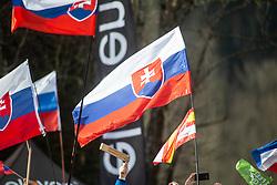Fans of Slovakia during second run at the Ladies' Slalom at 56th Golden Fox event at Audi FIS Ski World Cup 2019/20, on February 16, 2020 in Podkoren, Kranjska Gora, Slovenia. Photo by Matic Ritonja / Sportida