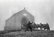 Donkeys bringing up the sand and cement for the exterior of the Oratory at the top of Croagh Patrick are urged on during a hailstorm..15-17.05.1962