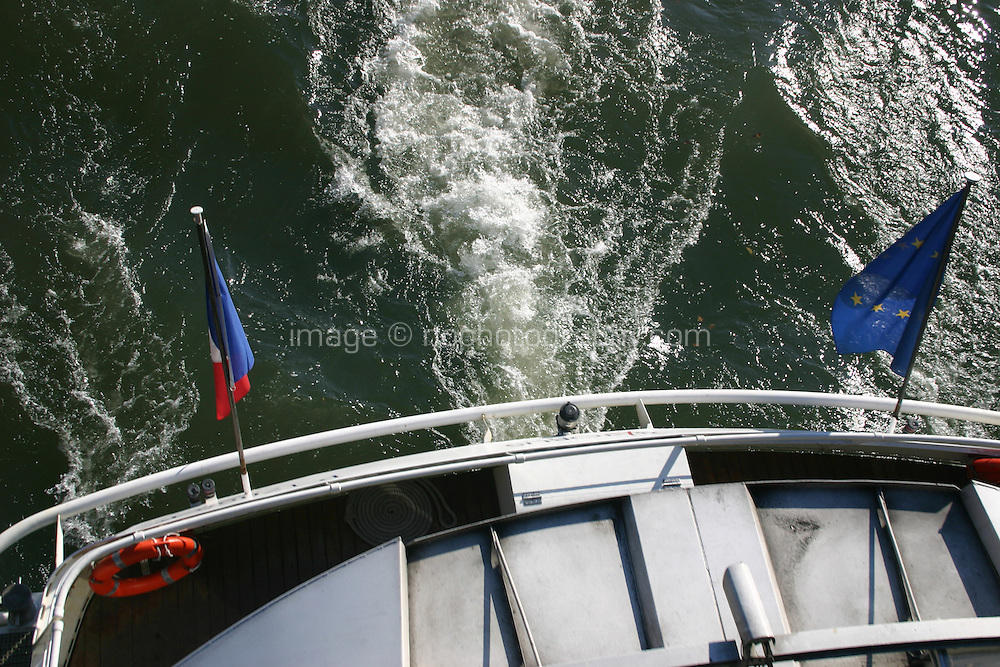 View of boat from bridge on River Seine, Paris, France<br />