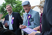 Roger Helmer, the UKIP candidate campaigning in Bingham for the Newark By Election 2014. The election was called as a result of the resignation of Tory MP Patrick Mercer who was suspended from the Commons as a result of allegations hat he had accepted payment for asking parliamentary questions.