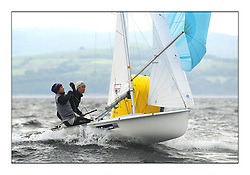 470 Class European Championships Largs - Day 1.Racing in grey and variable conditions on the Clyde..GBR853, Anna BURNET, Flora STEWART, RNCYC