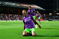 Bobby Reid of Bristol City celebrates scoring a goal to equalise in the last minute of the game to make it 2-2 - Mandatory by-line: Dougie Allward/JMP - 15/08/2017 - FOOTBALL - Griffin Park - Brentford, England - Brentford v Bristol City - Sky Bet Championship