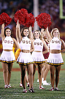 1 September 2007: Song girls on the field during USC Trojans college football team defeated the Idaho Vandals 38-10 at the Los Angeles Memorial Coliseum in CA.  NCAA Pac-10 #1 ranked team first game of the season.