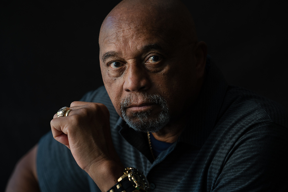 Tommie Smith, gold medalist who held his fist up in a black power salute on the medal stand at the 1968 Olympics in Mexico City, poses for a portrait at his home in Stone Mountain, Ga. on Wednesday, June 10, 2020. Photo by Kevin D. Liles for The New York Times