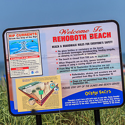 Rehoboth Beach, DE - June 25, 2016: Welcome to Rehoboth Beach sign on the boardwalk.