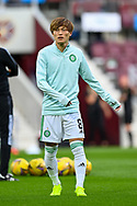 Kyogo Furuhashi (#8) of Celtic FC warms up before the Cinch SPFL Premiership match between Heart of Midlothian FC and Celtic FC at Tynecastle Park, Edinburgh, Scotland on 31 July 2021.