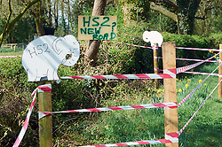 HS2 rail protest, Burton Green, April 2011. The proposed route will slice the village in two