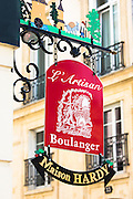 Artisan baker sign, Maison Hardy - L'Artisan Boulanger, in rue de Tambour, Reims, Champagne-Ardenne, France