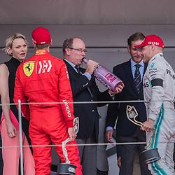 May 26, 2019 - Montecarlo, Monaco - Albert II, Prince of Monaco tastes the champagne after the podium ceremony after the race at Formula 1 Grand Prix de Monaco on May 26, 2019 in Monte Carlo, Monaco. (Credit Image: © Robert Szaniszlo/NurPhoto via ZUMA Press)