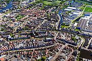 Nederland, Friesland, Súdwest-Fryslân, 07-05-2018; <br /> stadsgezicht Sneek, historische binnenstad met onder andere stadsgrachten en de Waterpoort.<br /> Sneek, small town in Friesland. <br /> luchtfoto (toeslag op standard tarieven);<br /> aerial photo (additional fee required);<br /> copyright foto/photo Siebe Swart