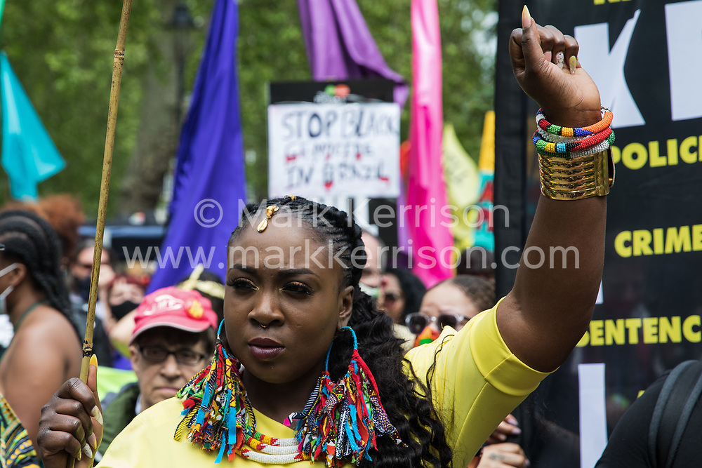 Marvina Newton, founder of United for Black Lives, takes part in a Kill The Bill National Day of Action in protest against the Police, Crime, Sentencing and Courts (PCSC) Bill 2021 on 29th May 2021 in London, United Kingdom. The PCSC Bill would grant the police a range of new discretionary powers to shut down protests, including the ability to impose conditions on any protest deemed to be disruptive to the local community, wider stop and search powers and sentences of up to 10 years in prison for damaging memorials.