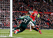 Anthony Martial of Manchester United nearly charges down a clearance by Ederson of Manchester City during the Premier League match at Old Trafford, Manchester. Picture date: 8th March 2020. Picture credit should read: Darren Staples/Sportimage