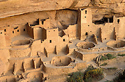 Evening light on Cliff Palace Ruin, Mesa Verde National Park, Colorado USA