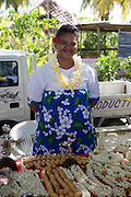 Shell necklaces, Takapoto, Tuamotu Islands, French Polynesia, (Editorial use only)<br />