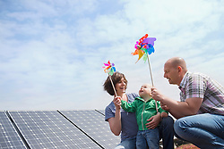 Alternative energy young family wind solar power