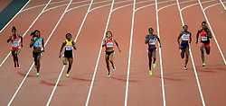 Great Britain's Bianca Williams (second right) and Bahamas' Shaunae Miller-Uibo compete in the Women's 200m Semi-Final heats during day seven of the 2017 IAAF World Championships at the London Stadium.