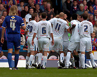 Photo: Alan Crowhurst.<br />Crystal Palace v Preston NE. Coca Cola Championship.<br />24/09/2005. Preston's Danny Dichio (11) barges straight into the mob and referee earning a sending off from Steve Tanner.