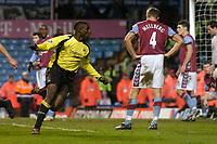 Photo: Glyn Thomas.<br />Aston Villa v Manchester City. The FA Cup. 19/02/2006.<br /> City's Micah Richards (L) celebrates scoring a last-minute equaliser.