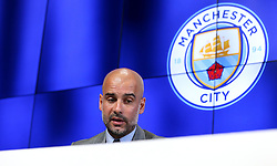 New Manchester City Manager speaks Pep Guardiola to the media during his first press conference - Mandatory by-line: Robbie Stephenson/JMP - 08/07/2016 - FOOTBALL - Manchester City Training Campus - Manchester, England - Pep Guardiola's debut press conference as manager of Manchester City