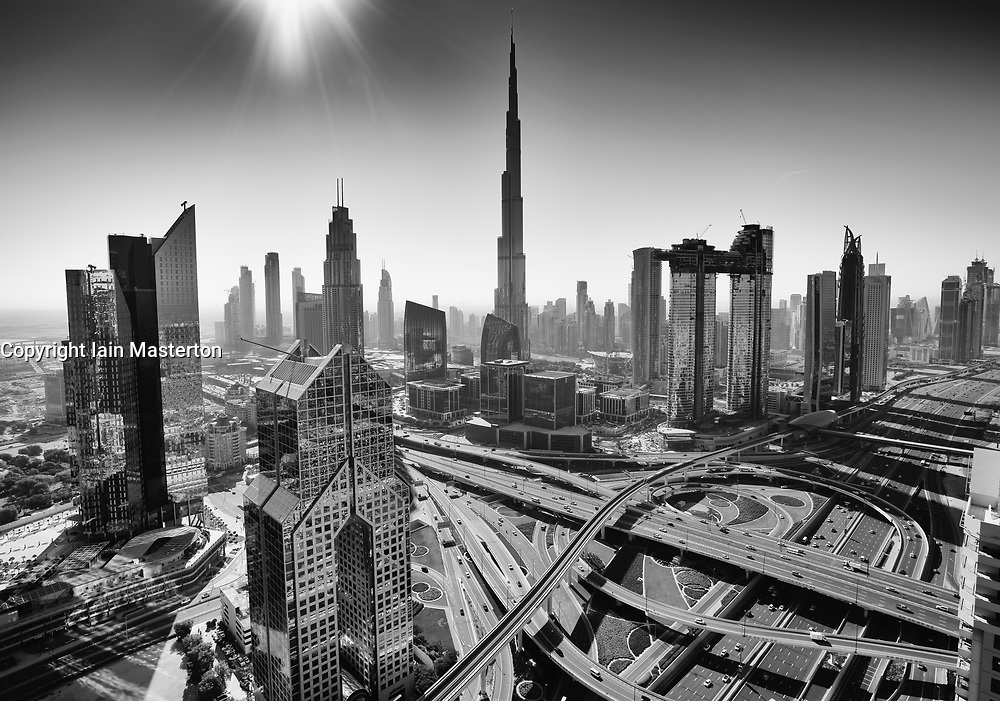 Skyline view of downtown district in Dubai with Burj Khalifa tower prominent, United Arab Emirates