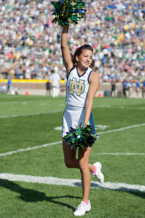 Notre Dame cheerleader Meredith Angel performs during NCAA football game between Notre Dame and Air Force.  The Notre Dame Fighting Irish defeated the Air Force Falcons 59-33 in game at Notre Dame Stadium in South Bend, Indiana.