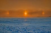 Sun dogs in winter<br /> Altona<br /> Manitoba<br /> Canada