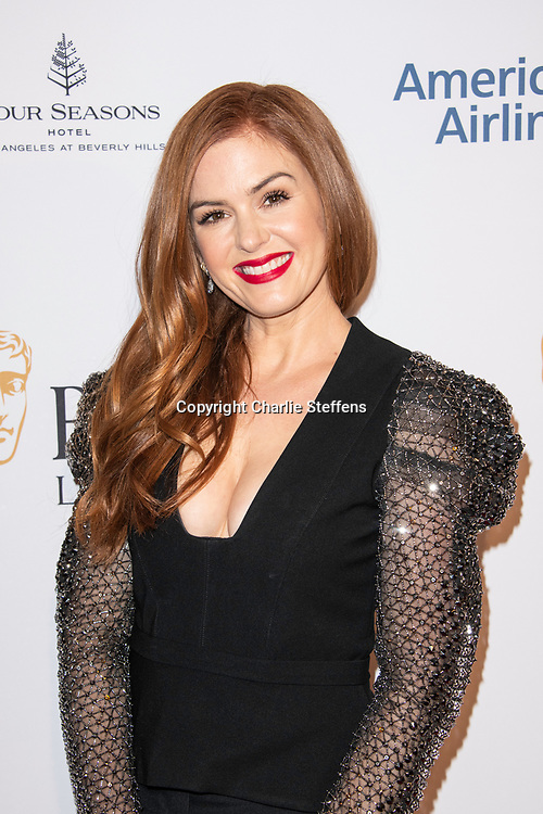 ISLA FISHER attends the 2020 BAFTA Tea Party at the Four Seasons Hotel in Los Angeles, California
