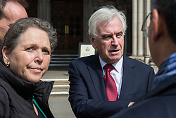 London, UK. 1st May, 2019. Shadow Chancellor John McDonnell, also Labour MP for Hayes and Harlington, speaks to campaigners outside the Royal Courts of Justice after the failure of a High Court challenge to the controversial plans to build a third runway at Heathrow airport. Judicial reviews of the Government's decision to approve the plans had been brought by five councils, residents, environmental charities including Greenpeace, Friends of the Earth and Plan B and London Mayor Sadiq Khan.