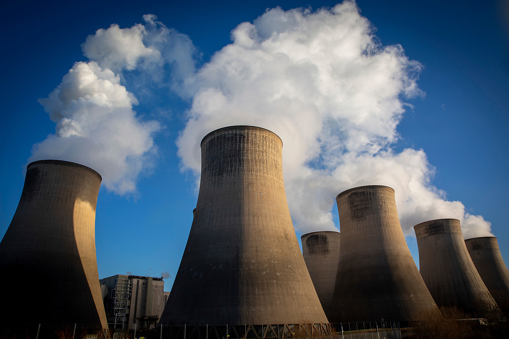 Smoke and steam bellows from the chimneys and cooling towers of Ratcliffe-on-Soar coal fired power station, owned and operated by Uniper at Ratcliffe-on-Soar in Nottinghamshire, England. The plant emits 8–10milliontonnes of CO2 annually. It has a generating capacity of 2,116MW,  enough electricity to meet the needs of approximately 2million homes. (photo by Andrew Aitchison / In pictures via Getty Images)