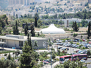 Jerusalem, Israel, Elevated view of The Shrine of the Book at the Israel Museum, focuses on the Dead Sea Scrolls and other ancient scriptures