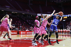 NORMAL, IL - February 10: Ally Gietzel defends Alexis Delgado during a college women's basketball Play4Kay game between the ISU Redbirds and the Indiana State Sycamores on February 10 2019 at Redbird Arena in Normal, IL. (Photo by Alan Look)