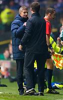 05/11/15 UEFA EUROPA LEAGUE GROUP STAGE<br /> CELTIC v MOLDE FK<br /> CELTIC PARK - GLASGOW<br /> Molde manager Ole Gunnar Solksjaer (left) shakes hands with Celtic manager Ronny Deila